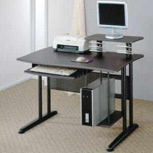 Desks Contemporary Computer Desk with Keyboard Tray and Computer Storage