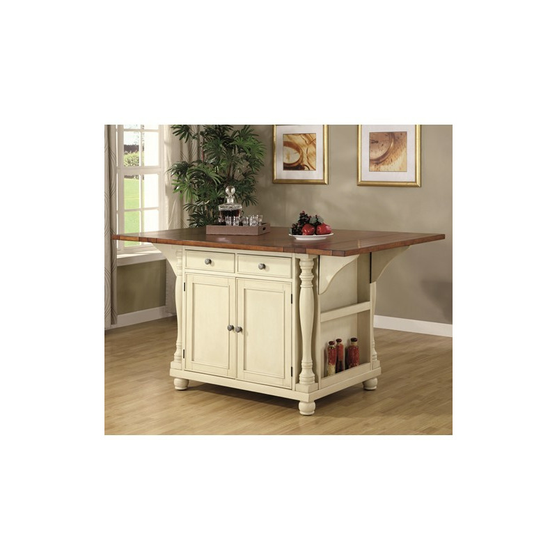 Kitchen Carts Two Tone Island With Drop Leaves By Coaster Furniture 102271 Tomlinson